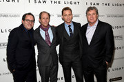 """(L-R) Sony Pictures Classics co-founder Michael Barker, director Marc Abraham, actor Tom Hiddleston and Sony Pictures Classics co-founder Tom Bernard attend The Cinema Society With Hestia & St-Germain Host a Screening of Sony Pictures Classics' """"I Saw the Light"""" at Metrograph on March 24, 2016 in New York City."""