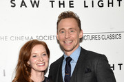 """Actors Wrenn Schmidt and Tom Hiddleston attend The Cinema Society With Hestia & St-Germain Host a Screening of Sony Pictures Classics' """"I Saw the Light"""" at Metrograph on March 24, 2016 in New York City."""