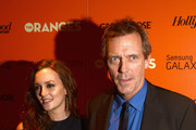 Actors Leighton Meester and Hugh Laurie attend The Cinema Society with The Hollywood Reporter & Samsung Galaxy S III host a screening of