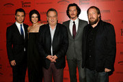"""(L-R) Actors Dominic Cooper, Gemma Arterton, director Stephen Frears, actors Luke Evans and Bill Camp attend the Cinema Society and Altoids's screening of """"Tamara Drewe"""" at the Crosby Street Hotel on September 27, 2010 in New York City."""