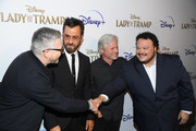 """(L-R) Charlie Bean, Justin Theroux, Brigham Taylor and Adrian Martinez attend as Cinema Society hosts a special screening of Disney+'s """"Lady And The Tramp"""" at iPic Theater on October 22, 2019 in New York City."""