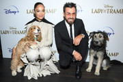 "Tessa Thompson, Rose, Charlie Bean, Justin Theroux and Monte attend as Cinema Society hosts a special screening of Disney+'s ""Lady And The Tramp"" at iPic Theater on October 22, 2019 in New York City."