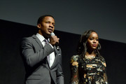 Writer/director Nate Parker (L) and Aja Naomi King of 'The Birth of a Nation' speak onstage during CinemaCon 2016 as 20th Century Fox Invites You to a Special Presentation Highlighting Its Future Release Schedule at The Colosseum at Caesars Palace during CinemaCon, the official convention of the National Association of Theatre Owners, on April 14, 2016 in Las Vegas, Nevada.
