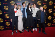 Actors Ezra Miller, Alison Sudol, Callum Turner, Katherine Waterston, Eddie Redmayne and Dan Fogler attend CinemaCon 2018 Warner Bros. Pictures Invites You to ?The Big Picture?, an Exclusive Presentation of our Upcoming Slate at The Colosseum at Caesars Palace during CinemaCon, the official convention of the National Association of Theatre Owners, on April 24, 2018 in Las Vegas, Nevada.