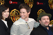"""(L-R) Actors Katherine Waterston, Eddie Redmayne and Dan Fogler attend CinemaCon 2018 Warner Bros. Pictures Invites You to """"The Big Picture"""", an Exclusive Presentation of our Upcoming Slate at The Colosseum at Caesars Palace during CinemaCon, the official convention of the National Association of Theatre Owners, on April 24, 2018 in Las Vegas, Nevada."""