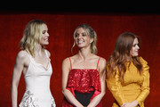 "(L-R) Actors Leslie Bibb, Annabelle Wallis and Isla Fisher speak onstage during CinemaCon 2018 Warner Bros. Pictures Invites You to ""The Big Picture"", an Exclusive Presentation of our Upcoming Slate at The Colosseum at Caesars Palace during CinemaCon, the official convention of the National Association of Theatre Owners, on April 24, 2018 in Las Vegas, Nevada."