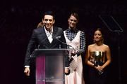 (L-R) Gabriel Luna, Mackenzie Davis, and Natalia Reyes accept the CinemaCon Ensemble Award onstage at The CinemaCon Big Screen Achievement Awards Brought to you by The Coca-Cola Company at OMNIA Nightclub at Caesars Palace during CinemaCon, the official convention of the National Association of Theatre Owners, on April 4, 2019 in Las Vegas, Nevada.