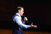John Cena speaks onstage at CinemaCon 2019- Paramount Pictures Invites You to an Exclusive Presentation Highlighting Its Upcoming Slate at The Colosseum at Caesars Palace during CinemaCon, the official convention of the National Association of Theatre Owners, on April 4, 2019 in Las Vegas, Nevada.