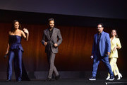 (L-R) Eva Longoria, Eugenio Derbez, Michael Pena and Isabela Moner appear onstage at CinemaCon 2019- Paramount Pictures Invites You to an Exclusive Presentation Highlighting Its Upcoming Slate at The Colosseum at Caesars Palace during CinemaCon, the official convention of the National Association of Theatre Owners, on April 4, 2019 in Las Vegas, Nevada.