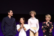 (L-R) Gabriel Luna, Natalia Reyes, Mackenzie Davis and Linda Hamilton speak onstage at CinemaCon 2019- Paramount Pictures Invites You to an Exclusive Presentation Highlighting Its Upcoming Slate at The Colosseum at Caesars Palace during CinemaCon, the official convention of the National Association of Theatre Owners, on April 4, 2019 in Las Vegas, Nevada.