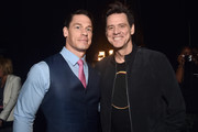(L-R) John Cena and Jim Carrey attends CinemaCon 2019- Paramount Pictures Invites You to an Exclusive Presentation Highlighting Its Upcoming Slate at The Colosseum at Caesars Palace during CinemaCon, the official convention of the National Association of Theatre Owners, on April 4, 2019 in Las Vegas, Nevada.