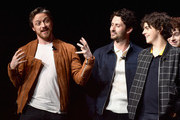 (L-R) James McAvoy, Andy Bean, and Jack Dylan Grazer speak onstage at CinemaCon 2019 Warner Bros. Pictures Invites You to ?The Big Picture?, an Exclusive Presentation of its Upcoming Slate at The Colosseum at Caesars Palace during CinemaCon, the official convention of the National Association of Theatre Owners, on April 2, 2019 in Las Vegas, Nevada.