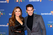 """Kelly Brook (L) and Jeremy Parisi attend the Cirque du Soleil Premiere Of """"TOTEM"""" at Royal Albert Hall on January 16, 2019 in London, England."""