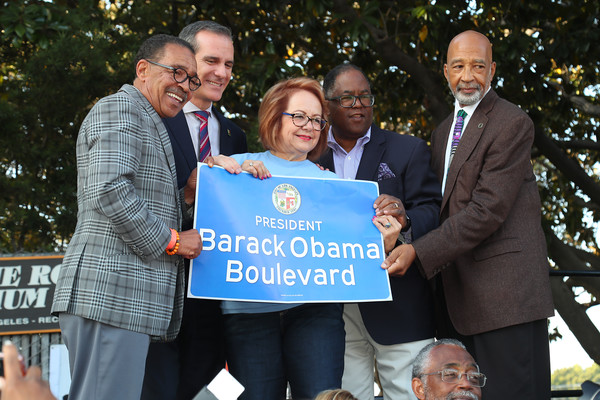 The City Of Los Angeles Officially Unveils Obama Boulevard In Honor Of The 44th President Of The United States Of America