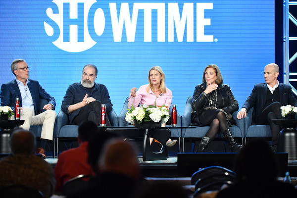 2020 Winter TCA Tour - Day 7 [homeland,event,news conference,community,convention,conversation,adaptation,academic conference,meeting,businessperson,table,alex gansa,mandy patinkin,howard gordon,lesli linka glatter,claire danes,l-r,pasadena,winter tca,segment,paul giamatti,billions,chuck rhoades,penny dreadful,bobby axelrod,wendy rhoades,vanessa ives,showtime,damian lewis]