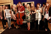 """(Left to Right) Elysium,(4th from Left) Natasha Marsh, Karen England from OperaBabs, Tania Davis from Bond Julian Lloyd Webber, Rhydian Roberts, Eos Chater,Elspeth Hanson,Gay - Yee Westerhoff of Bond ,Julian Smith and Sara Kempe attend the recording of the """"Classical Relief for Haiti"""" single """"The Prayer"""" at the Metropolis Studios on February 27, 2010 in London, England."""
