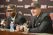 Cleveland Browns draft picks Justin Gilbert (L) and Johnny Manziel (R) answer questions during a press conference at the Browns training facility on May 9, 2014 in Cleveland, Ohio. Gilbert and Manziel were selected 8th and 22nd, respectively, in the first round.