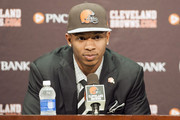 Cleveland Browns draft pick Justin Gilbert answers questions during a press conference at the Browns training facility on May 9, 2014 in Cleveland, Ohio. Gilbert was selected with the 8th pick in the first round.