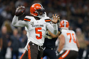 Tyrod Taylor #5 of the Cleveland Browns throws the ball during the third quarter against the New Orleans Saints  at Mercedes-Benz Superdome on September 16, 2018 in New Orleans, Louisiana.