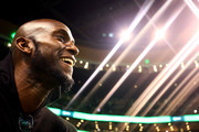 Former Boston Celtics player Kevin Garnett looks on during a game between the Boston Celtics and the Cleveland Cavaliers at TD Garden on February 11, 2018 in Boston, Massachusetts. Paul Pierce's jersey will be retired following the game. NOTE TO USER: User expressly acknowledges and agrees that, by downloading and or using this photograph, User is consenting to the terms and conditions of the Getty Images License Agreement.