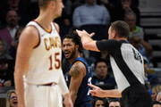 Derrick Rose #25 of the Minnesota Timberwolves reacts as referee Josh Tiven #58 calls a technical foul on Rose during the third quarter of the game against the Cleveland Cavaliers on October 19, 2018 at the Target Center in Minneapolis, Minnesota. The Timberwolves defeated the Cavaliers 131-123. NOTE TO USER: User expressly acknowledges and agrees that, by downloading and or using this Photograph, user is consenting to the terms and conditions of the Getty Images License Agreement.