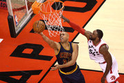 Richard Jefferson #24 of the Cleveland Cavaliers drives to the basket in the second half against Patrick Patterson #54 of the Toronto Raptors in game four of the Eastern Conference Finals during the 2016 NBA Playoffs at the Air Canada Centre on May 23, 2016 in Toronto, Ontario, Canada. NOTE TO USER: User expressly acknowledges and agrees that, by downloading and or using this photograph, User is consenting to the terms and conditions of the Getty Images License Agreement.