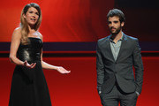 Joao Salaviza receives the Golden Bear Short Film Award next to Anke Engelke during the Closing Ceremony during day ten of the 62nd Berlin International Film Festival at the Grand Hyatt on February 18, 2012 in Berlin, Germany.