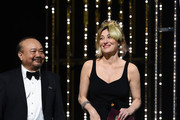 President of the Camera d'or jury Rithy Panh and Valeria Bruni Tedeschi on stage at the Closing Ceremony during the 72nd annual Cannes Film Festival on May 25, 2019 in Cannes, France.
