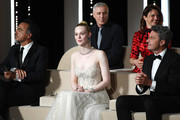 (L-R) President of the Main competition jury Alejandro Gonzalez Inarritu, and Jury Members Elle Fanning, Robin Campillo, Alice Rohrwacher, and Pawel Pawlikowski are seen on stage during the Closing Ceremony during the 72nd annual Cannes Film Festival on May 25, 2019 in Cannes, France.