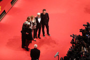 (L-R) Jury members Adele Romanski, Chema Prado, Cecile de France, Stephanie Zacharek, Ryuichi Sakamoto and jury president Tom Tykwer attend the closing ceremony during the 68th Berlinale International Film Festival Berlin at Berlinale Palast on February 24, 2018 in Berlin, Germany.