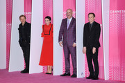 """(L-R) Marc Warren,Amanda Abbington, Harlan Coben and Michael C. Hall from the serie """"Safe"""" attend the Closing Ceremony and """"Safe"""" screening during the 1st Cannes International Series Festival at Palais des Festivals on April 11, 2018 in Cannes, France."""