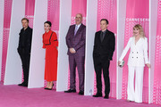 """(L-R) Marc Warren,Amanda Abbington, Harlan Coben,Michael C. Hall and Hannah Jane Arterton from the serie """"Safe"""" attends the Closing Ceremony and """"Safe"""" screening during the 1st Cannes International Series Festival at Palais des Festivals on April 11, 2018 in Cannes, France."""