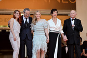 "(L-R) Kristen Stewart, director Olivier Assayas, Chloe Grace Moretz, Juliette Binoche and President of the Cannes Film Festival Gilles Jacob attend the ""Clouds Of Sils Maria"" premiere during the 67th Annual Cannes Film Festival on May 23, 2014 in Cannes, France."