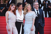 "(L-R) Actress Kristen Stewart, actress Juliette Binoche, actress Chloe Grace Moretz and director Olivier Assayas attend the ""Clouds Of Sils Maria"" premiere during the 67th Annual Cannes Film Festival on May 23, 2014 in Cannes, France."
