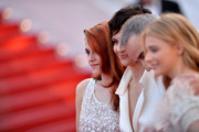 (L-R) Actress Kristen Stewart, actress Juliette Binoche, director Olivier Assayas and actress Chloe Grace Moretz attend the 'Clouds Of Sils Maria' premiere during the 67th Annual Cannes Film Festival on May 23, 2014 in Cannes, France.