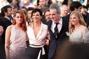 "(L-R) Actress Kristen Stewart, actress Juliette Binoche, director Olivier Assayas and actress Chloe Grace Moretz attend the ""Clouds Of Sils Maria"" premiere during the 67th Annual Cannes Film Festival on May 23, 2014 in Cannes, France."