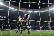 Giorgio Chiellini of Juventus reacts after Diego Godin of Atletico Madrid (not pictured) scores his team's second goal during the UEFA Champions League Round of 16 First Leg match between Club Atletico de Madrid and Juventus at Estadio Wanda Metropolitano on February 20, 2019 in Madrid, Spain.