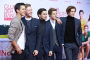 """(L-R) Tim Oliver Schultz, Timur Bartels, Ivo Kortlang, Nick Julius Schuck and Damian Hardung attends the premiere of the film """"Club der Roten Baender - Wie alles begann"""" at Zoo Palast on February 05, 2019 in Berlin, Germany."""