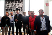 "(L-R) Philipp Lahm, amabassador of ""United for Football"" application for Euro 2024, Hannes Bongartz, Reinhard Grindel, DFB president, Wolfgang Rolff, Knut Reinhardt, Uwe Bein and Thomas Kroth pose during the Club Of Former National Players Meeting at BayArena on June 8, 2018 in Leverkusen, Germany."