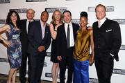 """(L-R) Annie Parisse, Frank Wood, Damon Gupton, Christina Kirk, Jeremy Shamos, Crystal A. Dickinson and Brendan Griffin attend the after party for the """"Clybourne Park"""" Broadway opening night at Gotham Hall on April 19, 2012 in New York City."""