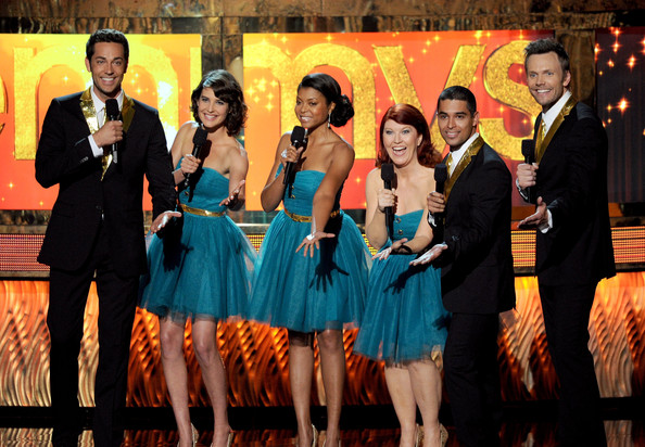 Cobie Smulders (L-R) Actors Zachary Levi Cobie Smulders, Taraji P. Henson, Kate Flannery, Wilmer Valderrama, and Joel McHale speak onstage during the 63rd Annual Primetime Emmy Awards held at Nokia Theatre L.A. LIVE on September 18, 2011 in Los Angeles, California.