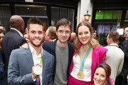 """(L-R) David Boudia, Topher Grace, Cassie Sharpe and Tatyana McFadden attend The 6th Annual """"Gold Meets Golden"""" Brunch, hosted by Nicole Kidman and Nadia Comaneci and presented by Coca-Cola at The House on Sunset on January 5, 2019 in West Hollywood, California."""