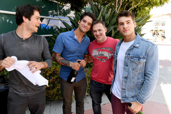 Comic-Con International 2017 - 'Teen Wolf' Backstage Photo Op [teen wolf,social group,people,youth,fun,community,event,jeans,tree,leisure,t-shirt,actors,jeff davis,cody christian,dylan obrien,tyler posey,l-r,san diego convention center,comic-con international,season]