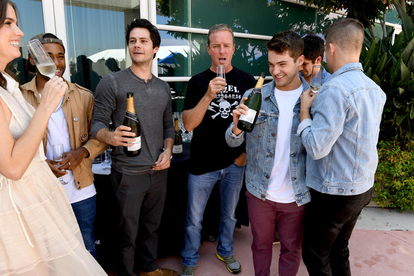 Comic-Con International 2017 - 'Teen Wolf' Backstage Photo Op [teen wolf,event,party,drink,ceremony,leisure,tourism,actors,shelley hennig,cody christian,tyler posey,charlie carver,l-r,san diego convention center,comic-con international,season]