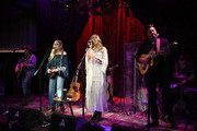 """Jason Reeves, Nelly Joy, Colbie Caillat and Justin Young of the band """"Gone West"""" are seen backstage at Analog at the Hutton Hotel on December 03, 2018 in Nashville, Tennessee."""