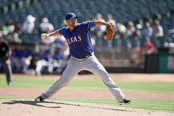Colby Lewis Texas Rangers v Oakland Athletics