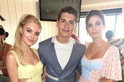 (L-R) Michelle Randolph, Gregg Sulkin, and Maia Mitchell attend Cold Stone Creamery Backstage at 2019 Teen Choice Awards on August 11, 2019 in Hermosa Beach, California.
