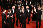 "Cinematographer Lukasz Zal, producer Ewa Puszczynska, actor Tomasz Kot, director Pawel Pawlikowski, Cannes Film Festival President Pierre Lescure, actress Joanna Kulig, actor Borys Szyc, producer Tanya Seghatchian and Cannes Film Festival Director Thierry Fremaux attend the screening of ""Cold War (Zimna Wojna)"" during the 71st annual Cannes Film Festival at Palais des Festivals on May 10, 2018 in Cannes, France."