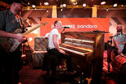 (L-R) Jonny Buckland, Chris Martin and Will Champion of Coldplay perform exclusive stripped-down set for SiriusXM and Pandora at SiriusXM Hollywood Studio on January 15, 2020 in Los Angeles, California.