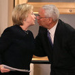 Colin Powell Hillary Clinton Attends State Department Ceremony Naming Section of Building After Her